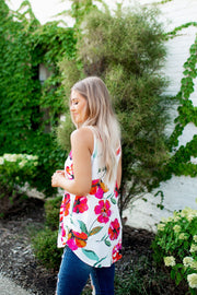 Floral Surplice Tank (Ivory) FINAL SALE
