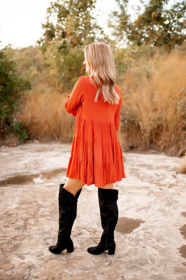 The Dottie Mock Neck Dress (Rust)