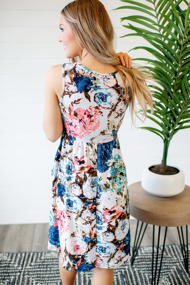 Let's Grow Together Midi Dress (Blue) FINAL SALE