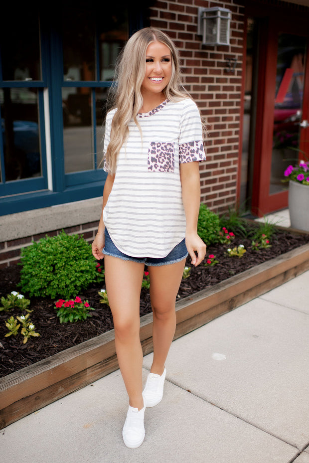 On The Prowl Striped Pocket Tee FINAL SALE