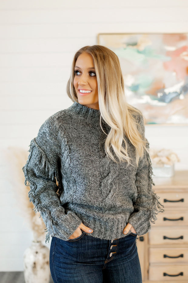 Forever Fringe Sweater (Charcoal)