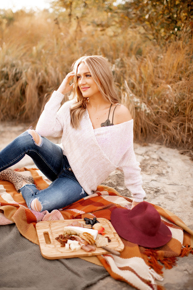 The Katy Front Wrap Sweater (Oatmeal)