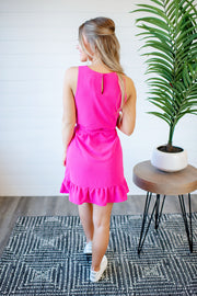 Marian Mini Peplum Dress (Pink)