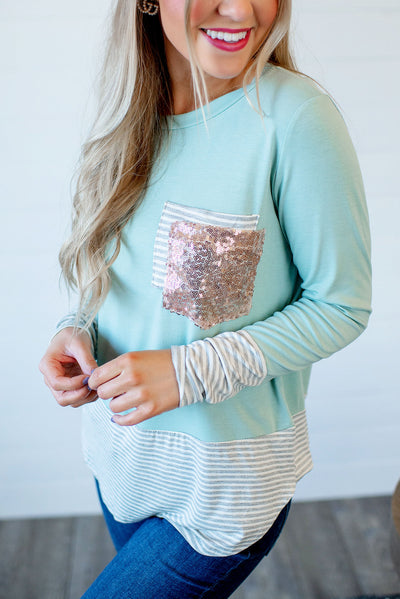 Stripes + Sequins Double Pocket Top (Sage)