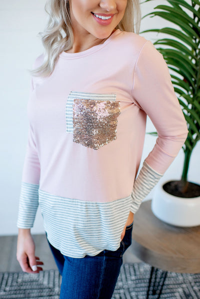 Stripes + Sequins Double Pocket Top (Blush)