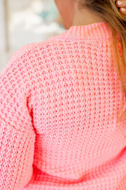 Chunky Knit Cardigan (Bright Pink) FINAL SALE