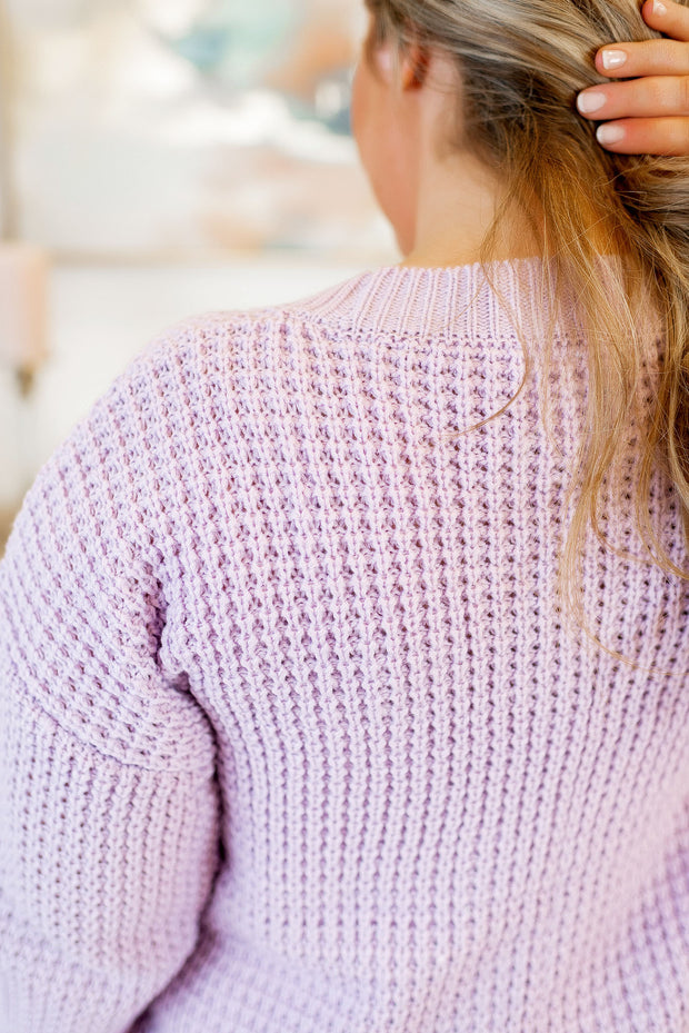 Chunky Knit Curvy Cardigan (Lavender) FINAL SALE