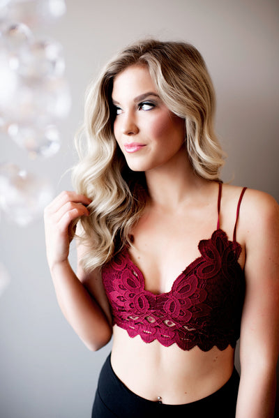Love N Lace Bralette (Burgundy)