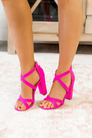 The Milan Strappy Heels (Hot Pink)