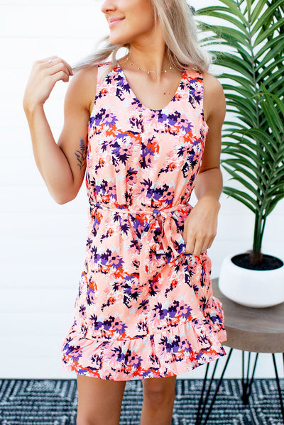 Marian Mini Peplum Dress (Coral Floral)