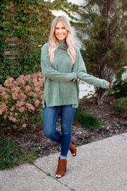 Chilly Evenings Chenille Sweater (Olive)