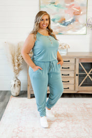 Button Up Jogger Jumpsuit (Blue Grey)