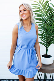 Marian Mini Peplum Dress (Periwinkle)