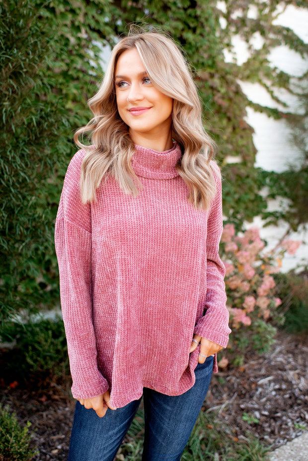 Chilly Evenings Chenille Sweater (Vintage Mauve)
