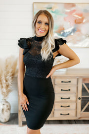 Shimmering In Lace Dress (Black)
