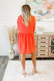 Sweet Caroline Dotted Dress (Hot Coral)