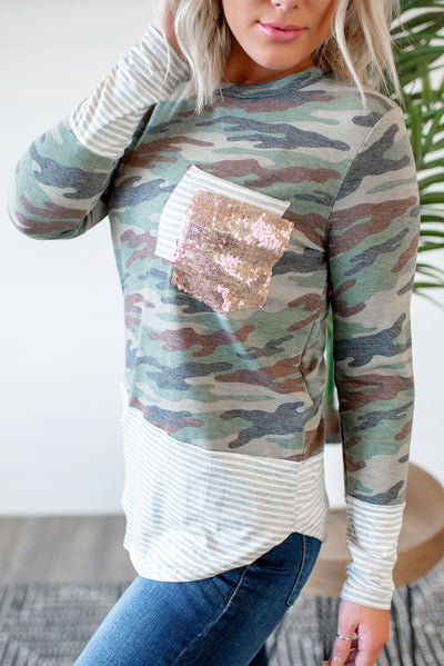 Stripes + Sequins Double Pocket Top (Camo) Deal Of The Day