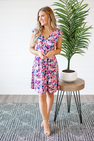 The Lizzie Floral Dress (Navy)