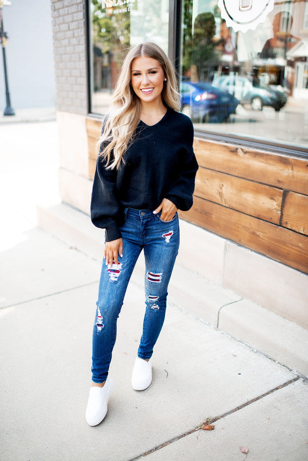 The Brandy Twist Back Sweater (Black)