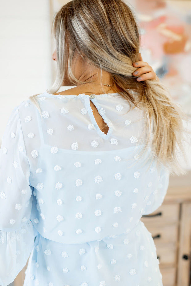 Anna Louise Dotted Blouse (Baby Blue)