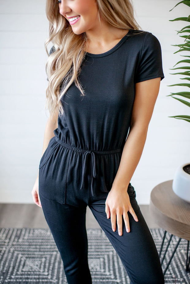 If You Love Me Cuffed Jumpsuit (Black)