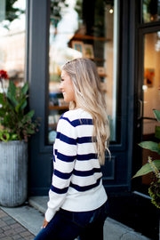 By Your Side Striped Sweater (Navy)