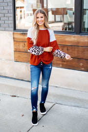 Styled In Spots Waffle Top (Rust)