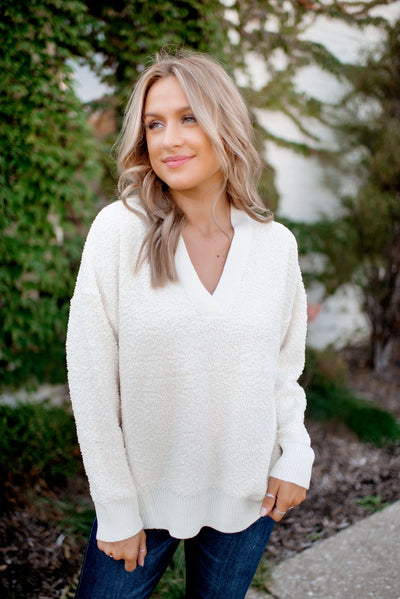 Keepin' Cozy Popcorn Sweater (Ivory) FINAL SALE