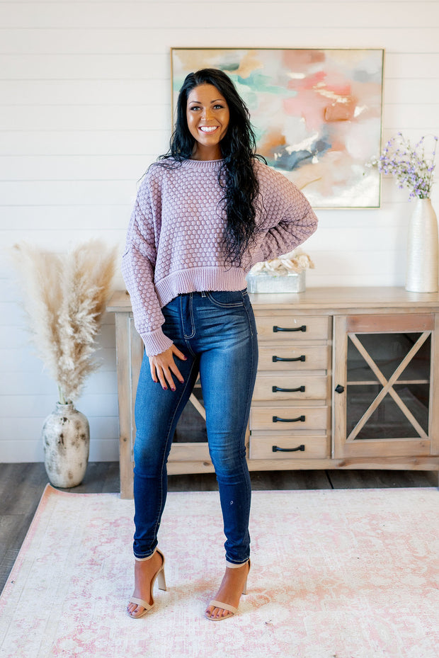 Pop, Lock, & Crop It Sweater (Dusty Lavender)