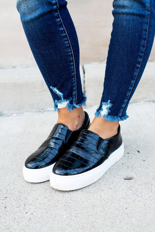 The Mason Platform Sneakers (Black Snake)