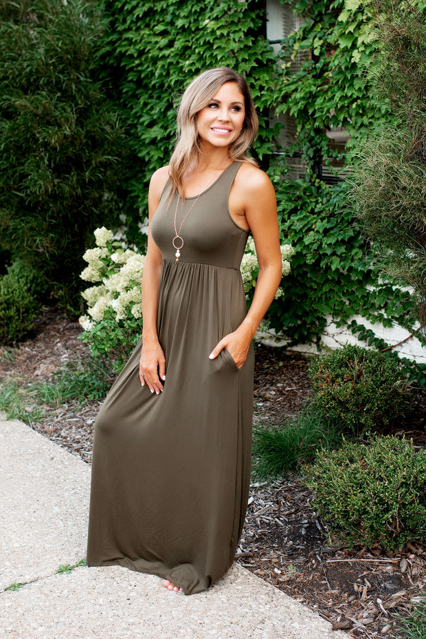 Modestly Posed Racerback Maxi (Olive)