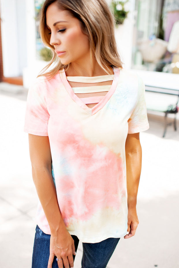 The Sara Strappy Tie Dye Tee (Coral) FINAL SALE