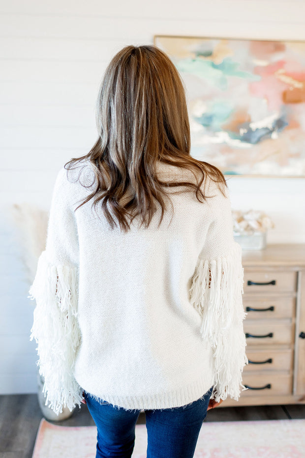 Fabulous In Fringe Sweater (Ivory)