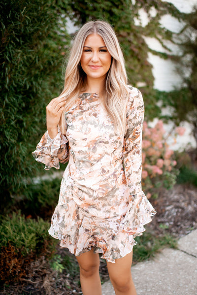 Better In Color Floral Dress (Peach)