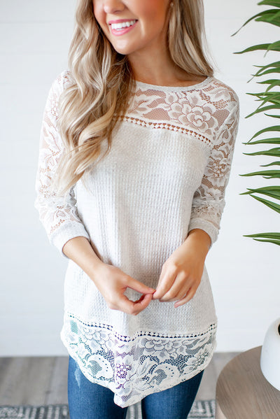 Vanessa Lace Top (Grey)