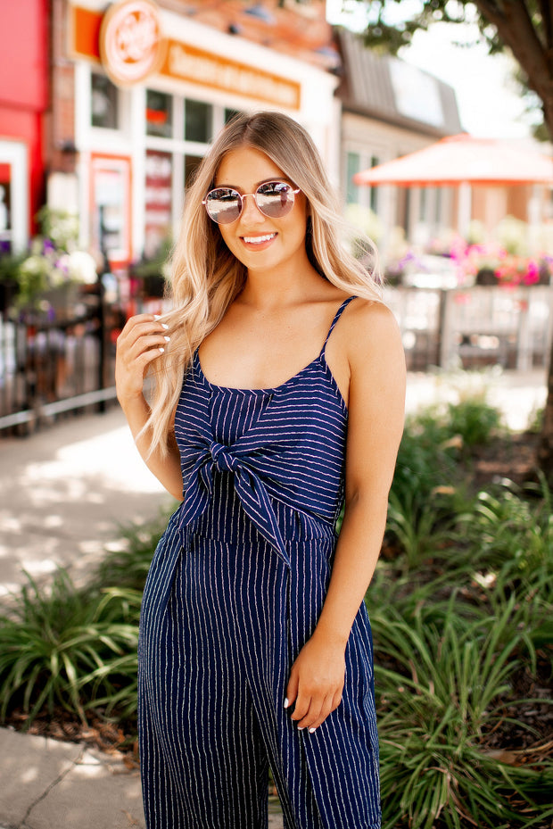 Always On Time Striped Jumpsuit (Navy)