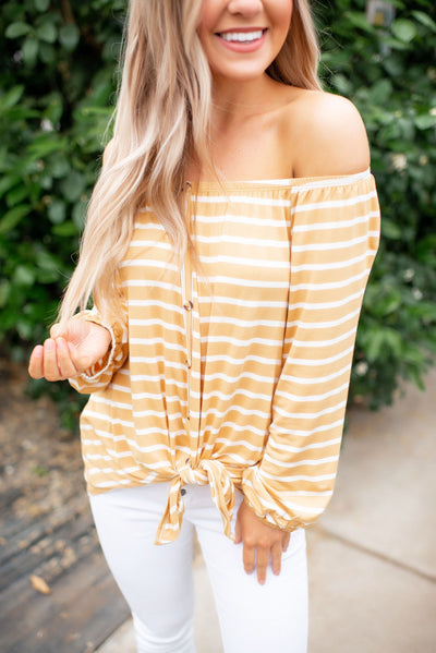 The Jenna Striped Knot Top (Mustard)