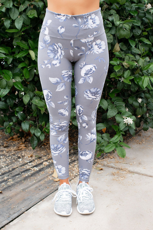 Mono B High Waist Leggings (Grey Roses)
