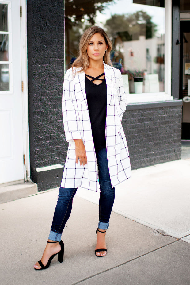 Interview Ready Checkered Blazer (White/Grey)