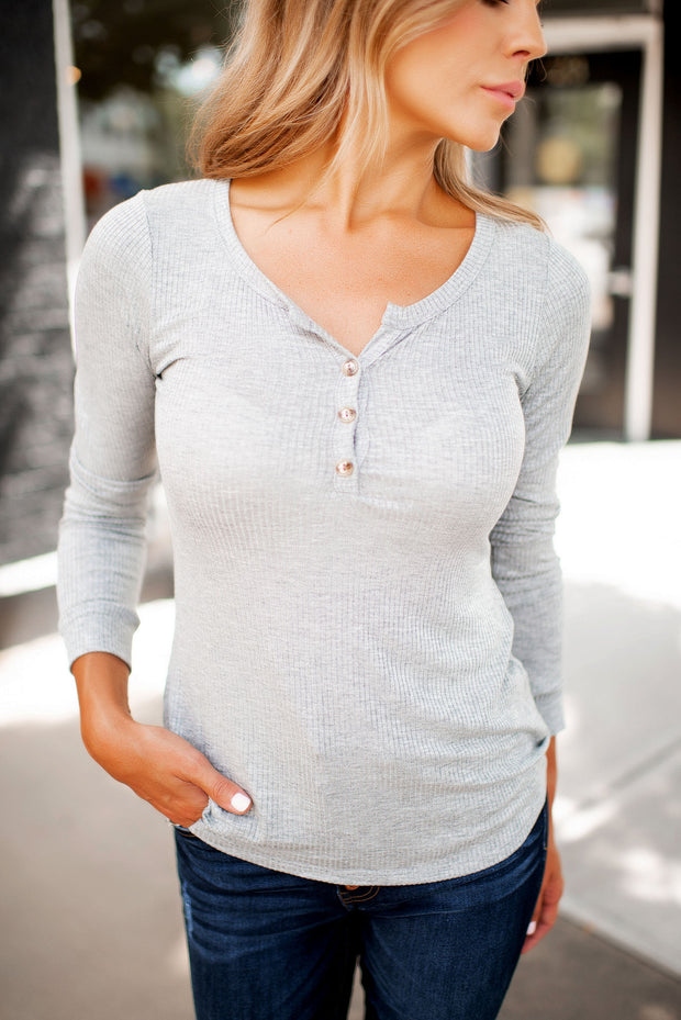Charlotte Ribbed Henley (Grey)