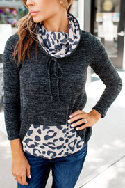 Two-Toned Spotted Pullover (Charcoal) FINAL SALE