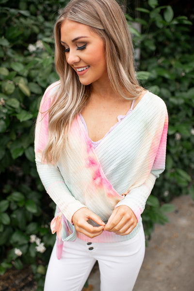 Tie Dye Ribbed Wrap Top (Pink)