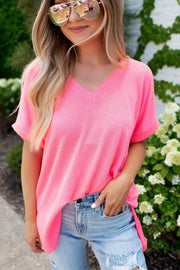 The April Ribbed V-Neck (Neon Pink)