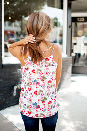 Strappy Floral Tank (White/Red)