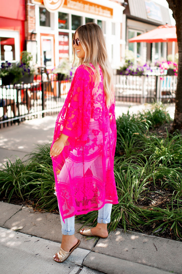 Got You Covered Lace Kimono (Fuchsia)