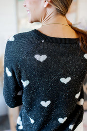 Heart Throb Knit Sweater (Black)