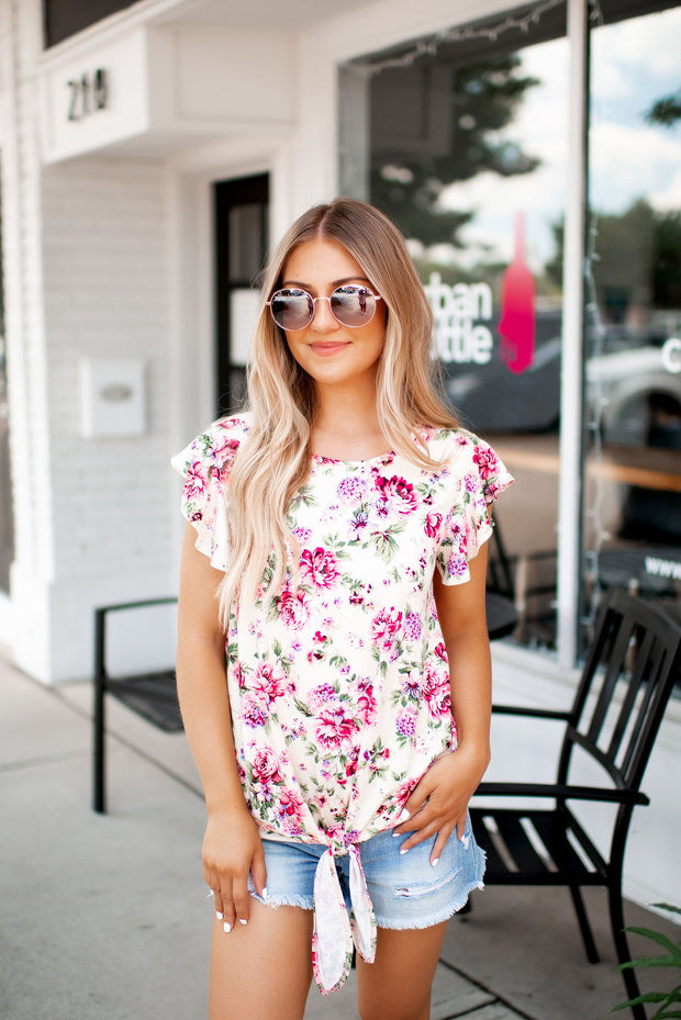 Ruffle Floral Knot Top (Ivory)