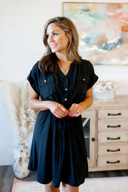 The Lana Button Dress (Black)