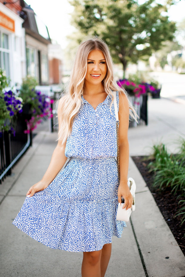 The Libby Spotted Ruffle Dress (Ivory/Blue) FINAL SALE