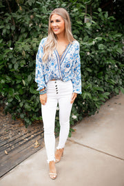 The Renata Floral Blouse (Blue/Taupe)